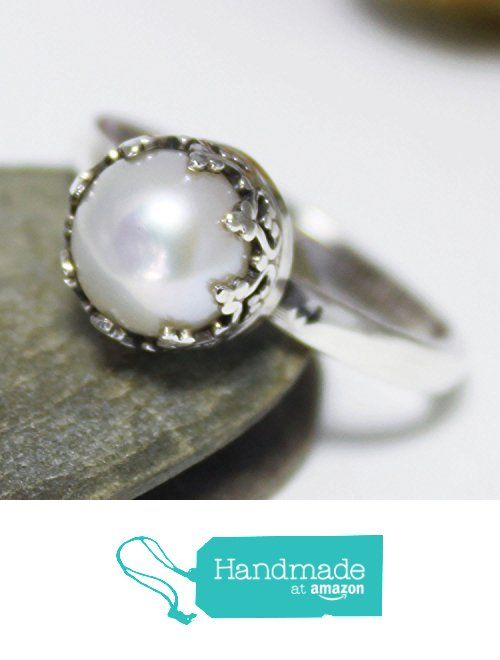 Dainty Freshwater-Cultured Pearl Ring, Statement Ring, Cocktail Ring, Silver Fresh Water Pearl Ring, Stacking Ring, White Pearl Ring from rosajuri https://www.amazon.com/dp/B06Y2BBCKP/ref=hnd_sw_r_pi_dp_M4eczbD24QCE5 #handmadeatamazon