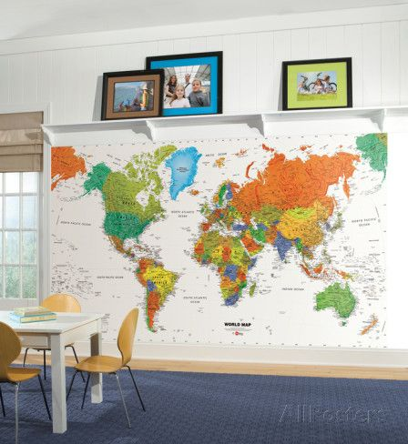 World Map Chair Rail Prepasted Mural Wall Mural - at AllPosters.com.au