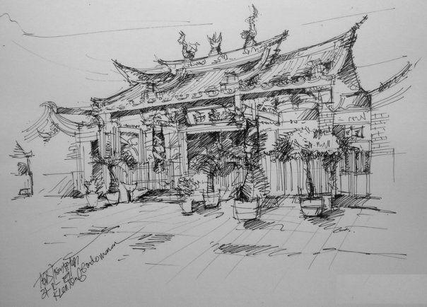 chinese temple, drawing pen on paper, klenteng gondomanan, jogjakarta, indonesia