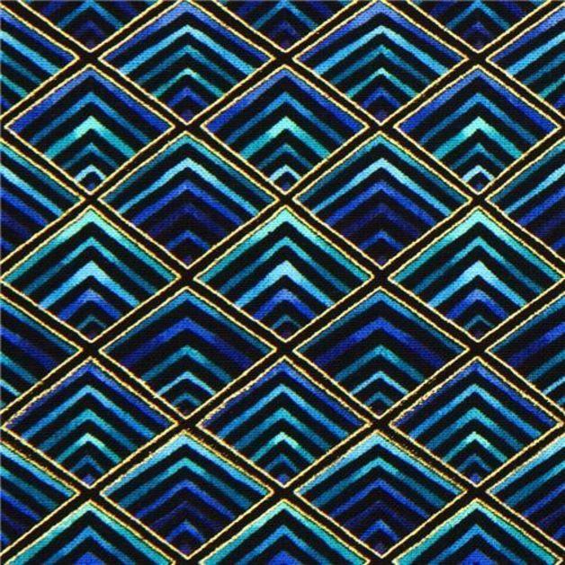 Stoff grafische Muster - 169305 schwarzer Designer Stoff blaue Diamanten - ein Designerstück von modes4u bei DaWanda