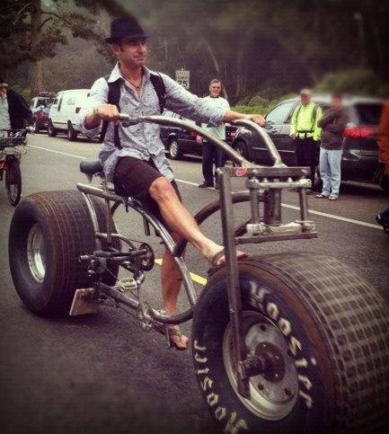 Me riding Tron bike at the Tour De Fat in Golden Gate Park