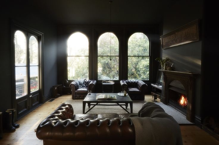 Interior design and styling by Kali Cavanagh // black walls, leather chesterfield sofa: Interior Design, Living Rooms, Window, Living Spaces, Interiors, House Daylesford, Livingroom, Vintage Houses, Dark Wall