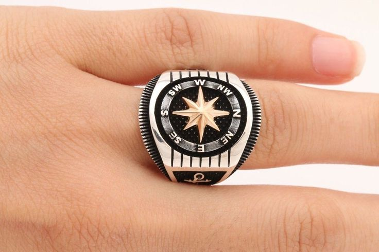 Turkish Handmade Jewelry Star Compass 925 Sterling Silver Mens Ring Size 8  eBay  Mens Rings