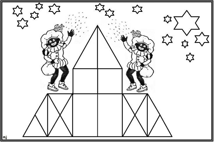* Mozaïek: Op gekleurd papier afdrukken mozaïek erop laten leggen of laten op- na-plakken, sterren laten kleuren. 1-9