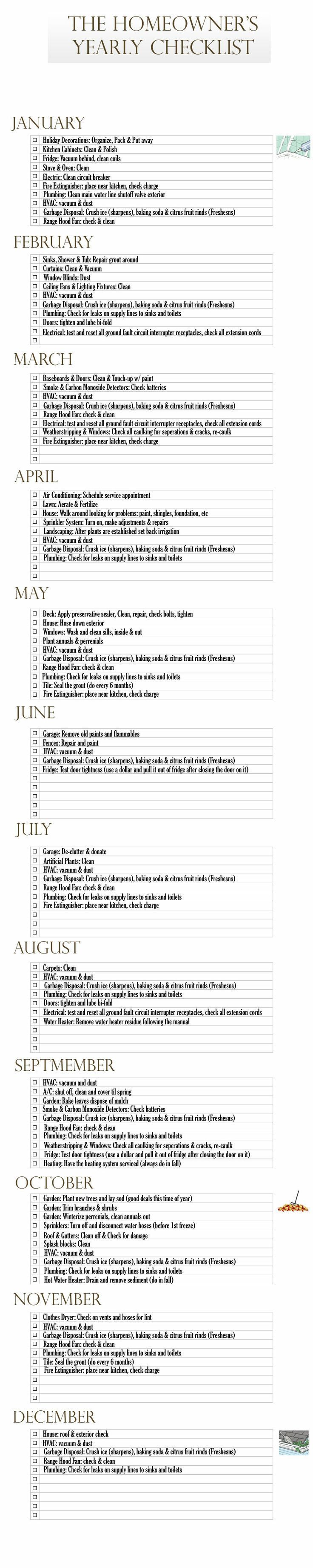 Homeowner's Yearly Checklist is creative inspiration for us. Get more photo about home decor related with by looking at photos gallery at the bottom of this page. We are want to say thanks if you like to share this post to another people via your facebook, pinterest, google plus or …