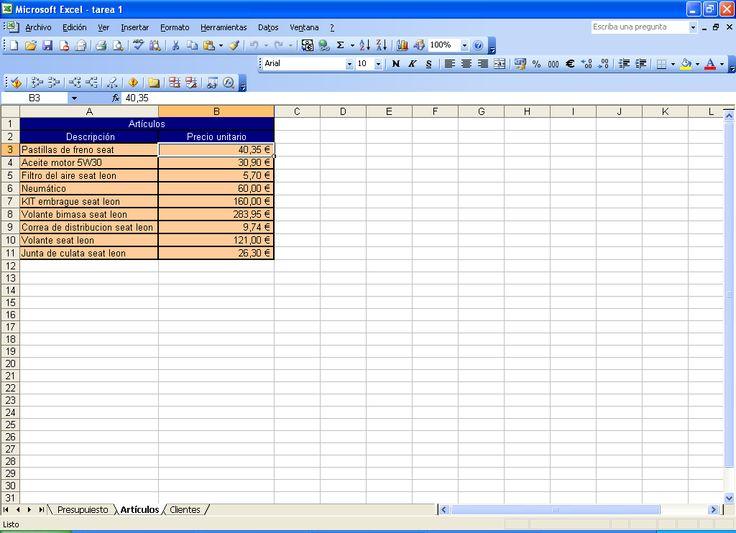 Usando microsoft excel, he hecho unos presupuestos(todos los datos de los clientes son inventados), usando funciones para sacar el tanto %, usando algunas herramientas de la hoja de cálculo como unificar casillas para darle una mejor estética.