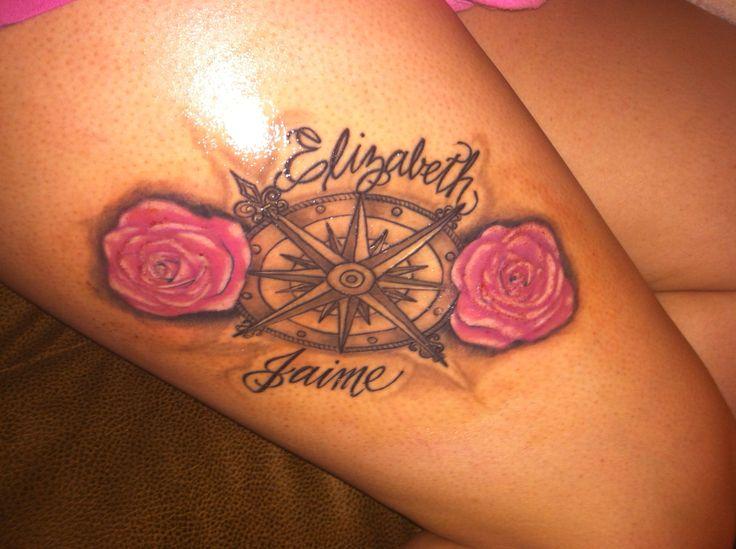 Love my tattoo #compass #roses #parentsname