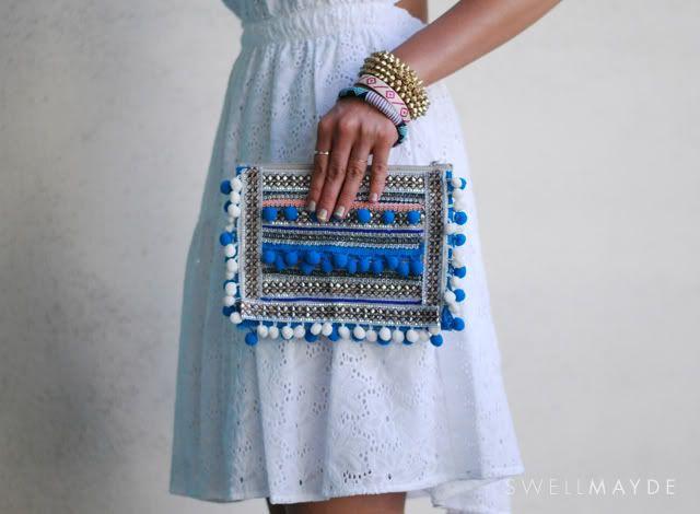 swellmayde: DIY | Pom Pom embrague para Espuma Revista