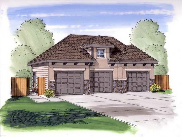 27 best 3 car garage plans images on pinterest garage for Three car detached garage plans