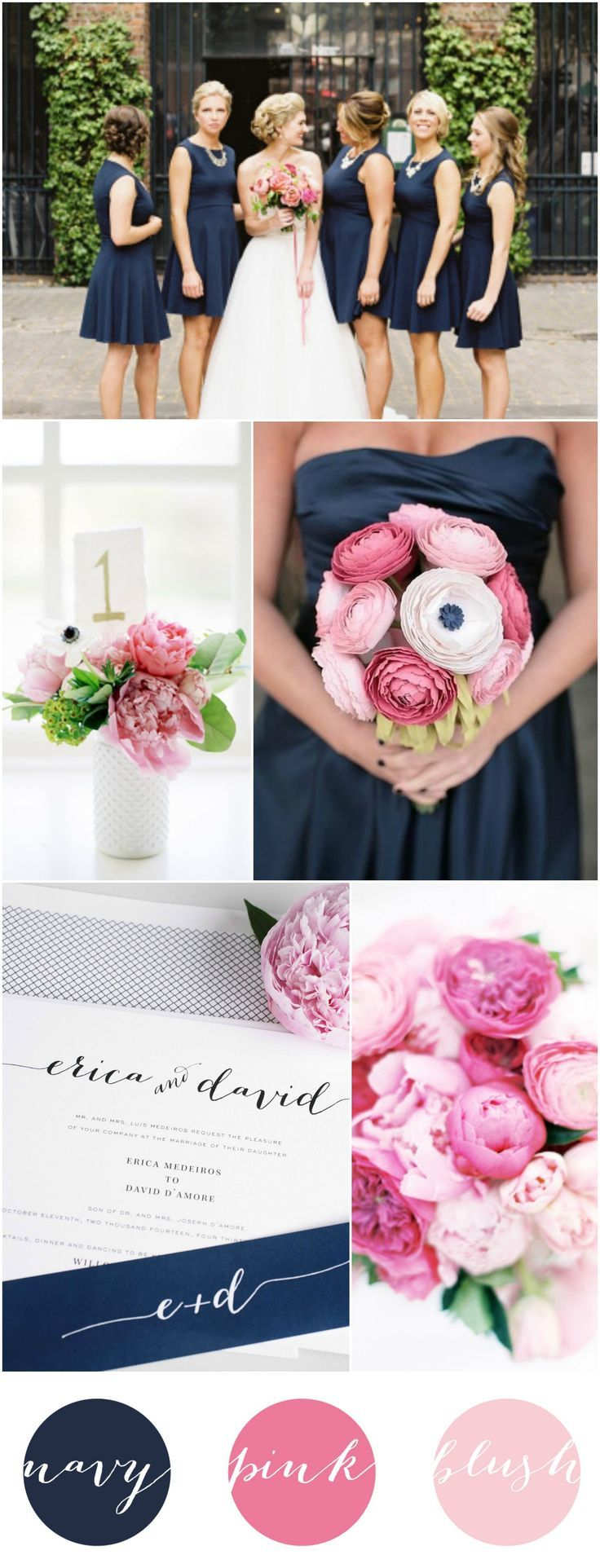 Gorgeous, Romantic, and Rustic Navy Blue, Hot Pink, and Blush Wedding Inspiration and Ideas from Shine Wedding Invitations