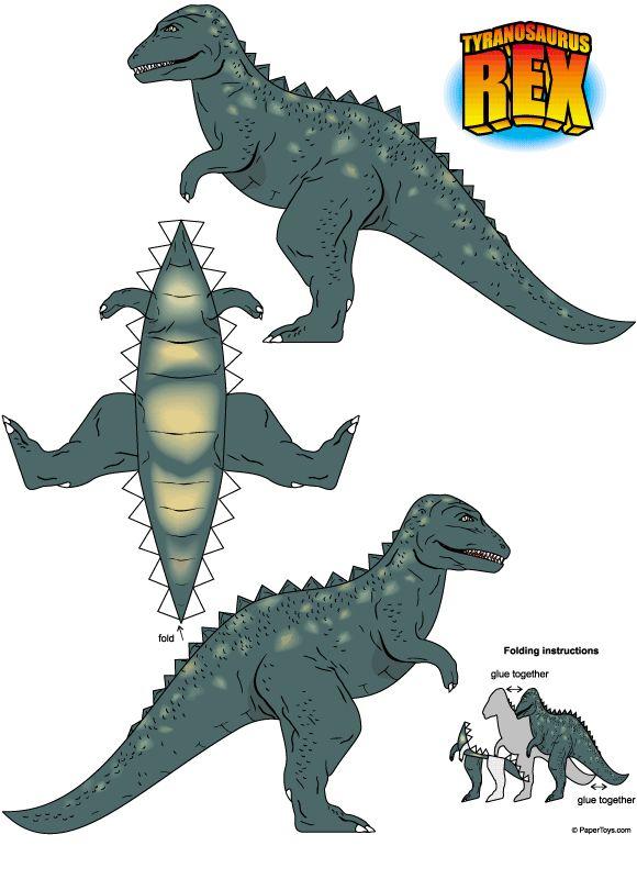 .:* - tyranosaurus rex free printable paper craft