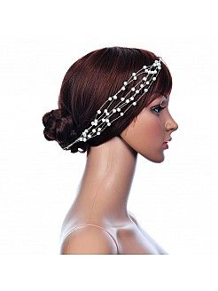 Silver Pearl Detailed Hair Flower - USD $7.99