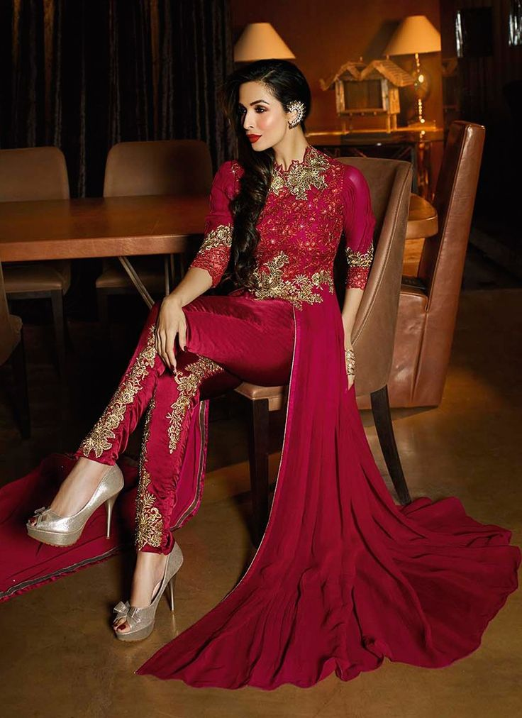 Malaika Maroon and Gold Embroidered Anarkali Pant Suit