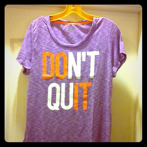 CLEARANCE! Don't Quit Purple Tee NWOT!  Purple/White Tweed Tee with Melon & White Lettering. Melon trim on the inside of the Scoop Neck too. 50% Polyester/50% Rayon. Brand New! Excellent Condition. No Trades. EVCR Tops Tees - Short Sleeve