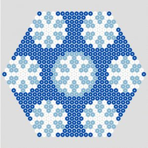 Large blue winter hexagon design for hama beads