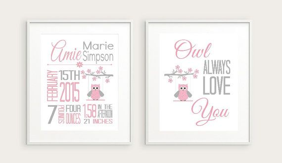 Pink and grey nursery prints! Check out this item in my Etsy shop https://www.etsy.com/ca/listing/256470828/owl-nursery-birth-stats-print-owl