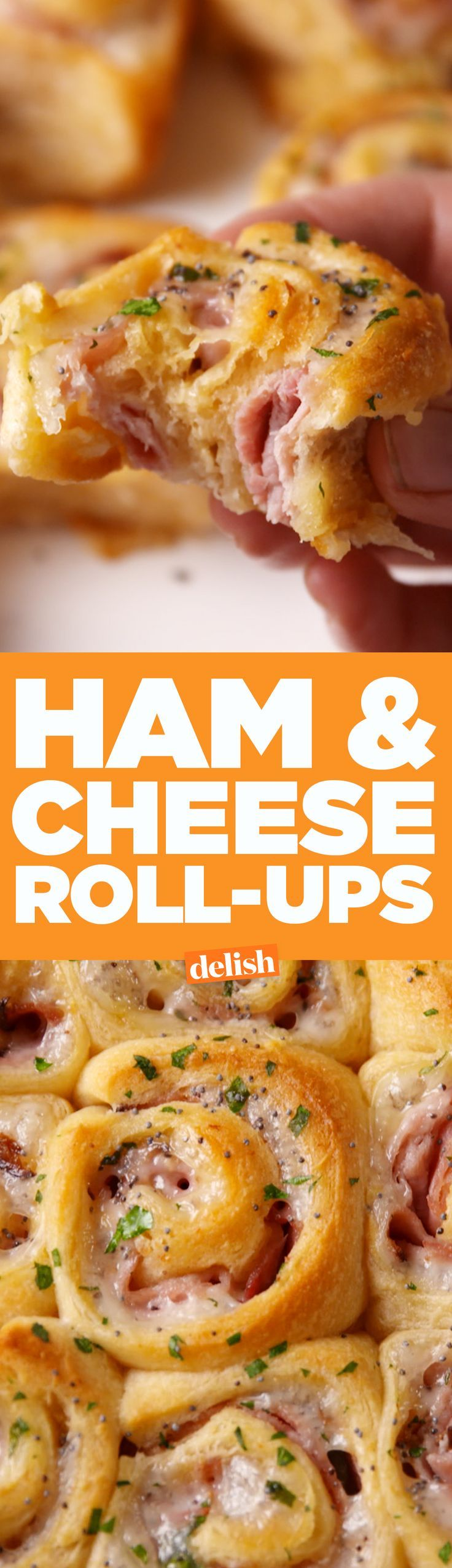 Ham & Cheese Roll-Ups are the most genius way to use Pillsbury crescent rolls. Get the recipe on http://Delish.com.