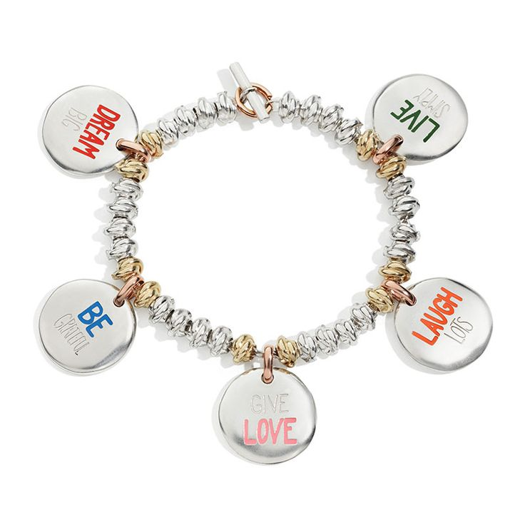 bracciale dei buoni propositi, to do list bracelet, monetine, argento, silver, dream big, live simply, be grateful, give love, laugh lots, queriot, civita