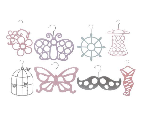 Set di 8 grucce floccate forme assortite in metallo multicolor