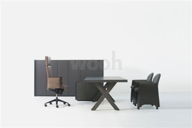 Bureau S2 wengé pieds X avec plumier - Wooh Store : Bureau et mobilier de bureau