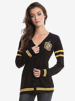 Harry Potter Hufflepuff Womens Cardigan, BLACK