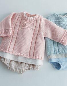 Modèle brassière unie en laine layette Plus