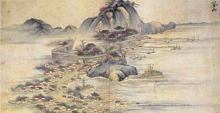 Walled Fort and Harbor of Busan 1748 팬저의 국방여행 : 부산진성 11(부산진성의 형태) 이성린(李聖麟), '사로승구도'(槎路勝區圖), 1748년경의 부산진성과 영가대의 모습으로 위 김윤겸의 영가대의 모습과 같이 남문과 서문사이에 배들이 있고 서문을 중심으로 민가들이 들어서 있으며 자성대가 있는 곳은 아주 높게 그려져 있습니다. 북문이 있는 곳과 서문에서 북문 방향을 보면 아무것도 그려져 있지 않는데 이 부분이 궁금합니다. 출처:부산진성 11(부산진성의 형태)
