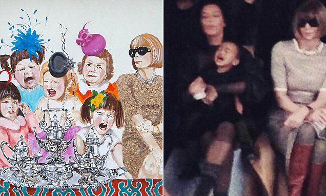 In a $10,000 painting titled Tantrum Tea Party, created in 2014, artist Ashley Longshore depicted Vogue editor-in-chief Anna Wintour looking on in dismay at an array screaming children. Hilarious...