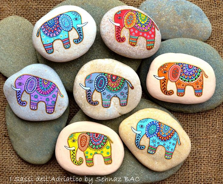 This week's works, elephant stones with different colors for a commission   #paintedstones