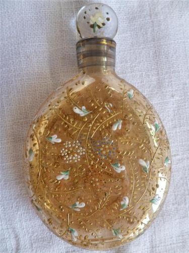 Antique Moser Gold Glass Perfume Scent Bottle with Enamel Gilt Design C1880