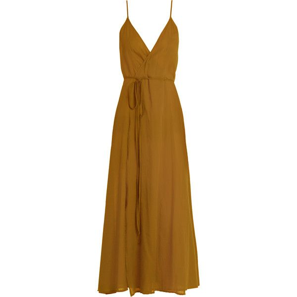 Loup Charmant Ballet Wrap cotton dress ($250) ❤ liked on Polyvore featuring dresses, vestidos, camel, beachy dresses, cotton wrap dress, ballerina dress, tie dress and cinched-waist dress