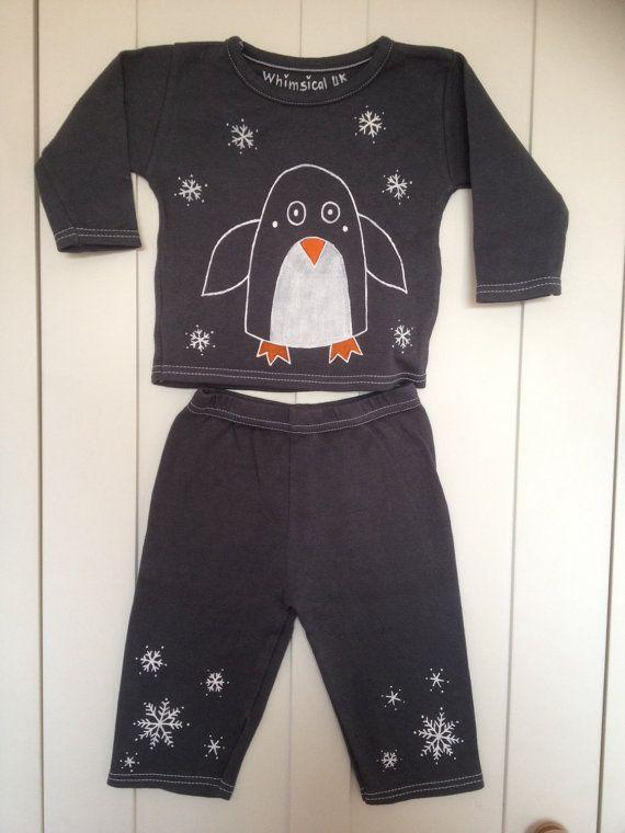 6-12 months Grey penguin baby pyjamas novelty baby by WhimsicalUK