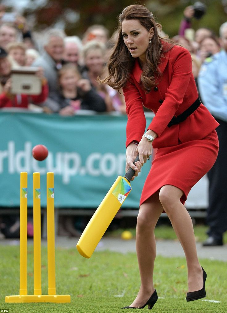 Cricket in heels: The Duchess of Cambridge played a game of cricket in high heels during a 2015 Cricket World Cup event in Christchurch on Monday