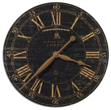 "Old World London Black Crackle  Gallery Wall Clock 18"" transitional-wall-clocks"