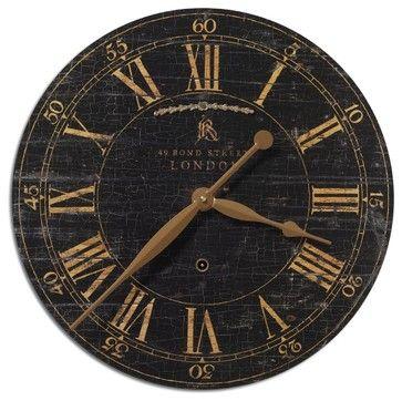 "Old World London Black Crackle  Gallery Wall Clock 18"" transitional-wall-clocks"