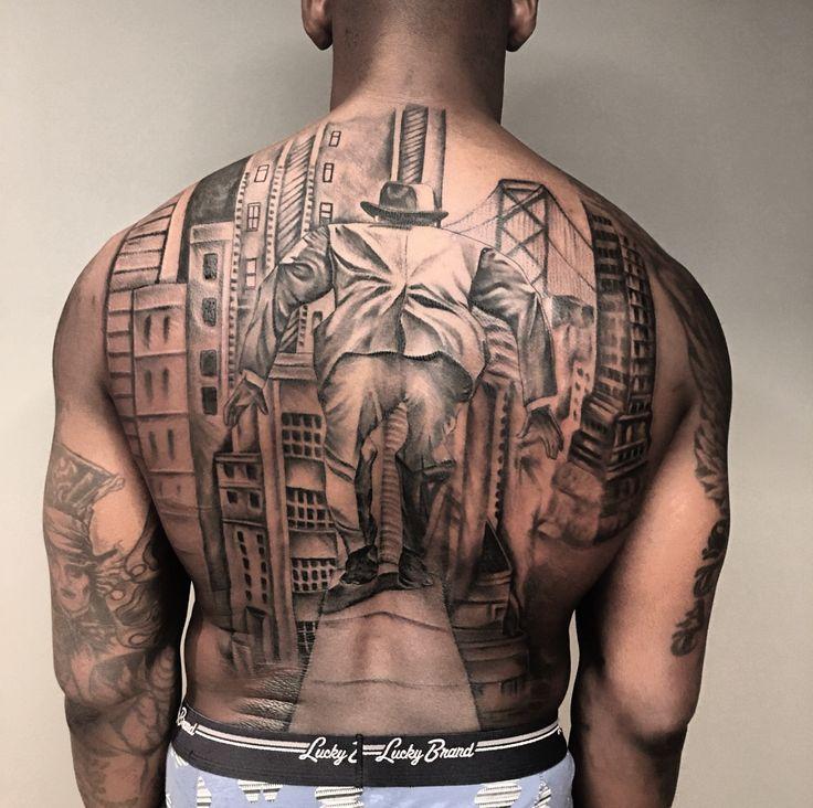 Back Tattoo by Kat Tat on NFL Player Aldon Smith  #Aldon #Smith #AldonSmith #back #tattoo #backtattoo #Kat Tat #KatTat #blackinkchicago #black ink chicago #NFL