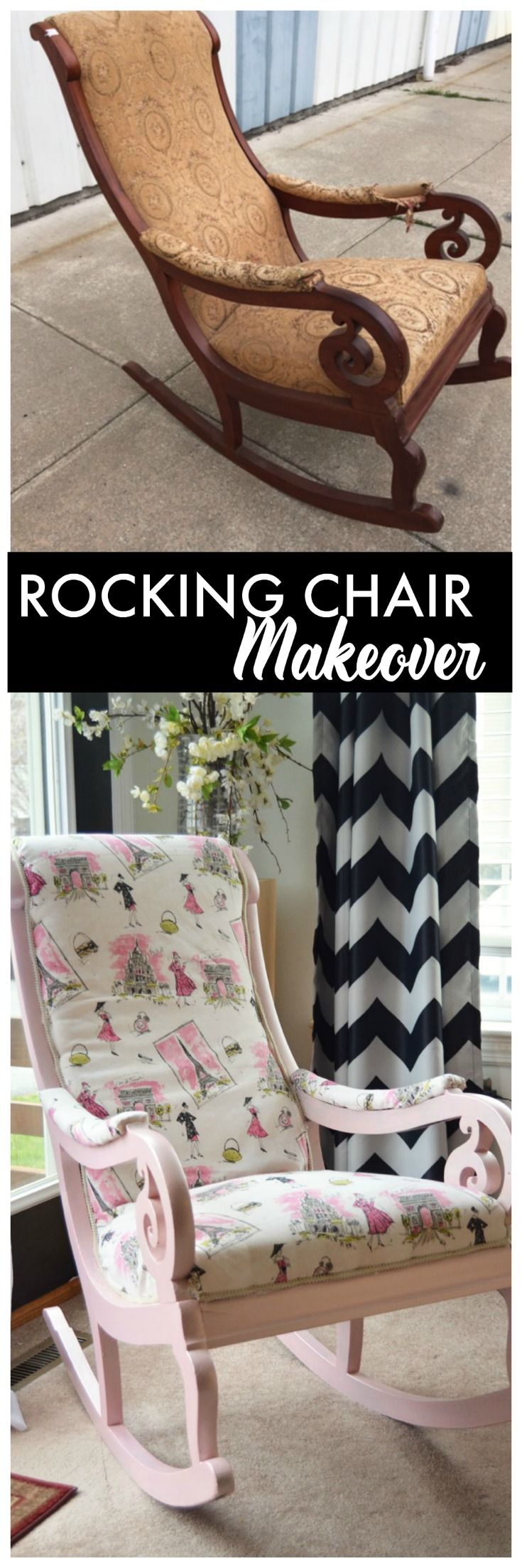 This old Rocking Chair got a brand new look with fake reupholstery and paint  #ad