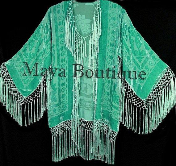 Lucite Green Silk Burnout Velvet Fringe Jacket Short Kimono Maya Matazaro(BoutiqueMaya)