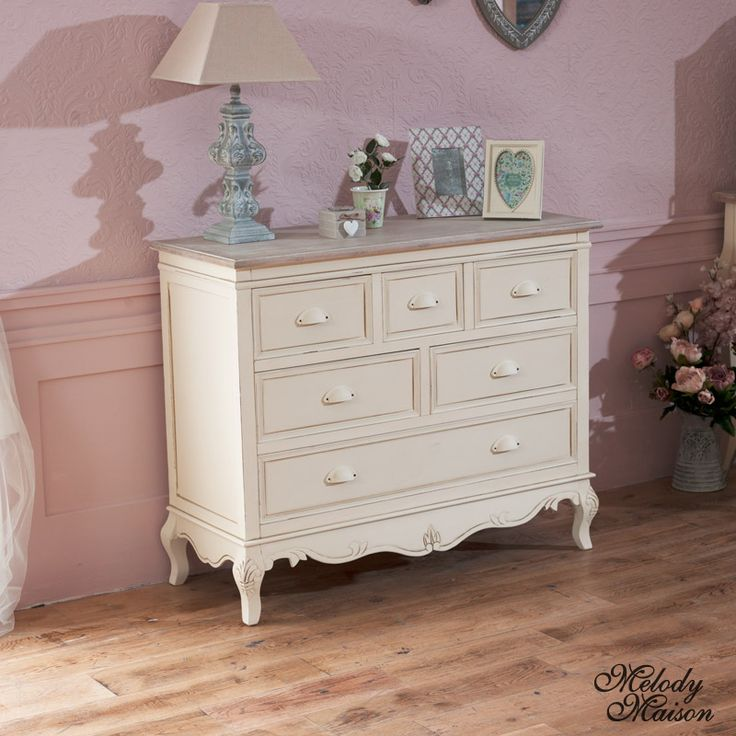 Country Ash Range - 6 Drawer Cream Chest of Drawers