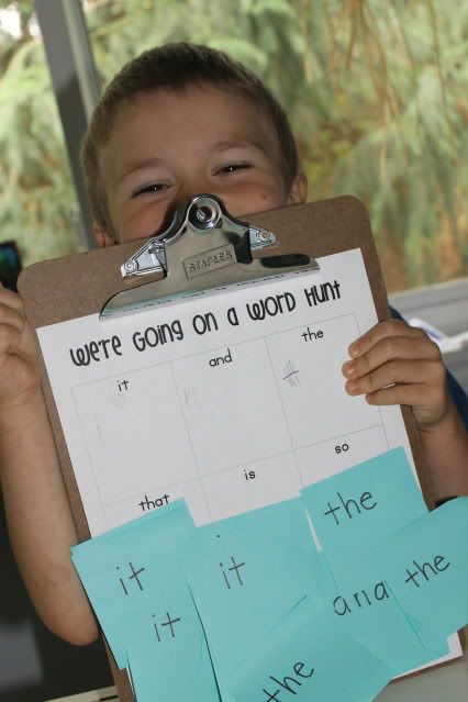 Word hunt game using clipboard and sticky notes