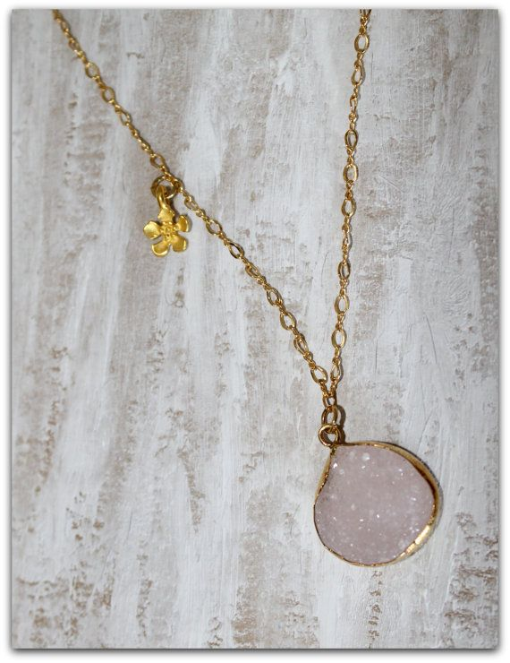 Light Pink Druzy Agate Necklace by NHjewel on Etsy, $62.00