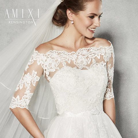 Create a different look with your wedding dress We love this pretty lace jacket 'Kensington' by Amixi, worn with our gorgeous 'Brooke' by Anna Sorrano www.wed2b.co.uk