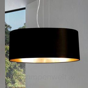 Lecio - schwarz-goldene Textil-Hängeleuchte