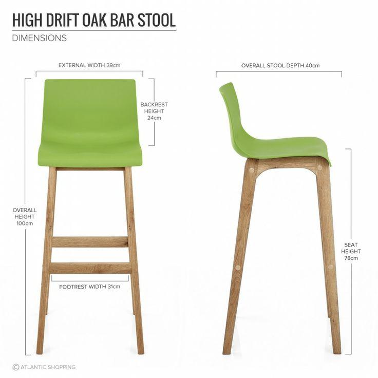 High Drift Oak & Green Bar Stool - Atlantic Shopping £39.50