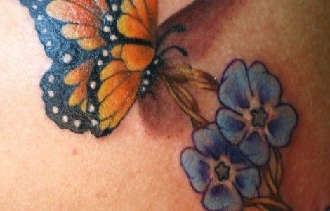 butterfly forget me not necklace tattoo