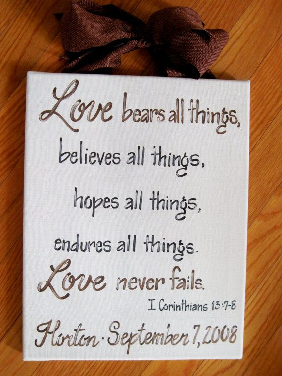 Custom Canvas Sign Wedding Bible Verse by dreamcustomartwork, $30.00