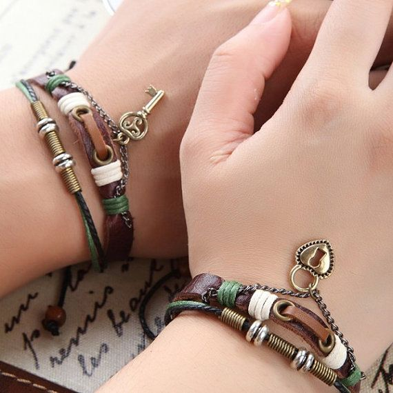 Lederen paren armband geschenk Boyfriend door BraceletStreetUSA