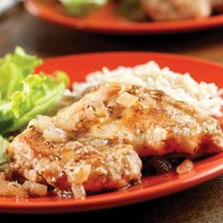 Savory Balsamic Herb Chicken Recipe Main Dishes with boneless chicken skinless thigh, all-purpose flour, olive oil, onion, garlic, swanson chicken broth, balsamic vinegar, dri thyme leaves, crush, long grain white rice