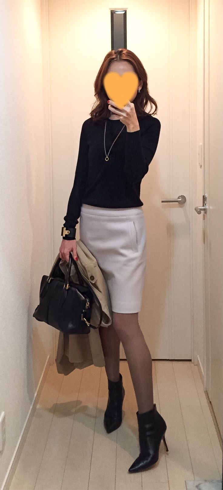Black knit: Drawer, Light grey skirt: Ballsey, Bag: Tods, Boots: Jimmy Choo