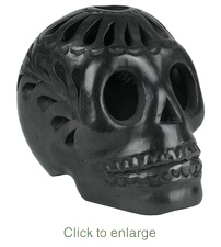 Oaxacan Black Clay Skull Luminara. I have one!! It's awesome to see that it's already been pinned.